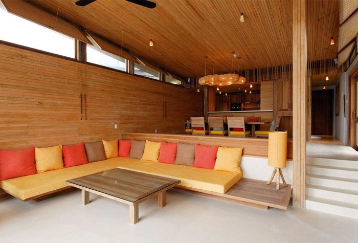 living room furnishing natural materials