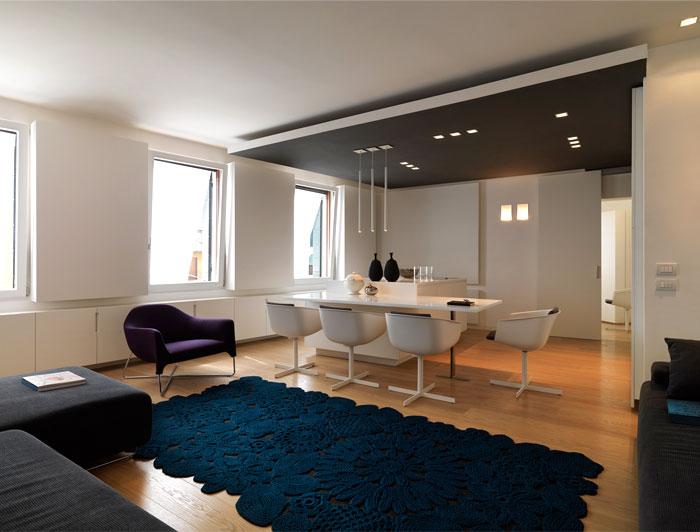 living room interior crochet carpet paola lenti