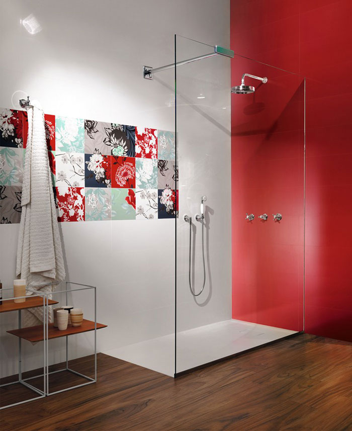 pure red color wall tiles