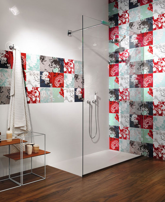 red color wall tiles