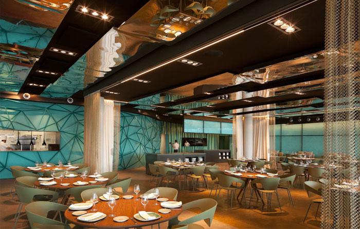 specially textured glass restaurant decor