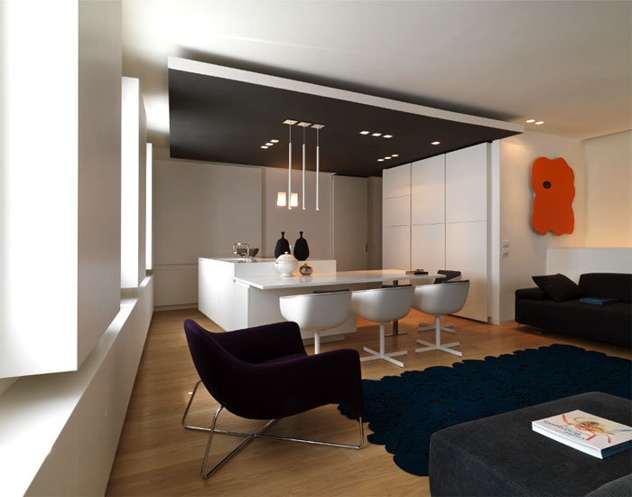 white walls contemporary furnishing