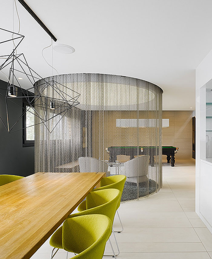 attractive metal curtain-dining-room