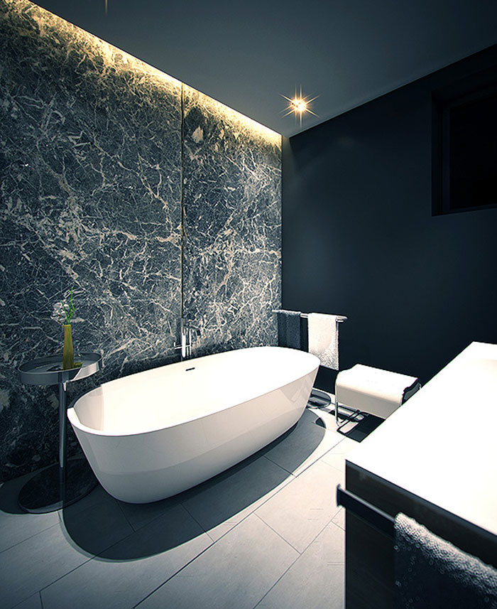 bathroom marble wall design apartment