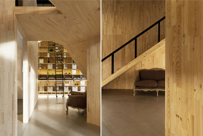 laminated wood metal frames showroom design