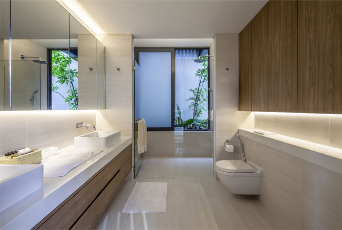 comfortable stylish marble wood decor bathroom