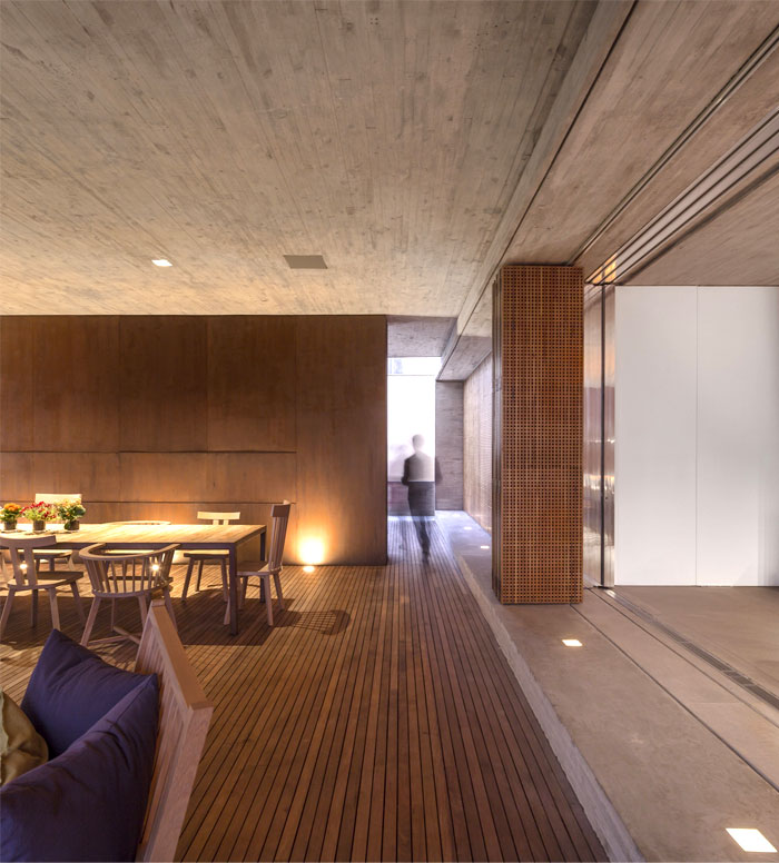 concrete wall–fireplace sliding bamboo walls