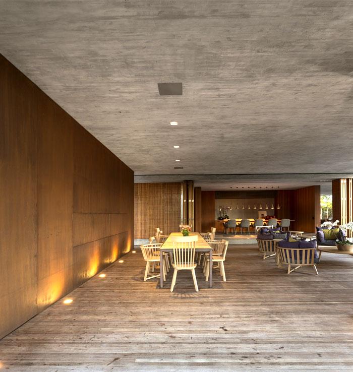 concrete walls dining area furnishing decorating