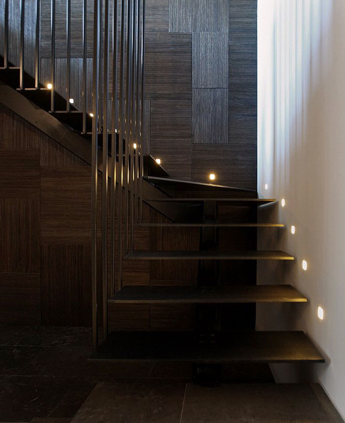 geometrical wood panels staircase