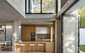 kitchen concrete elements contrast timber elements 338x212