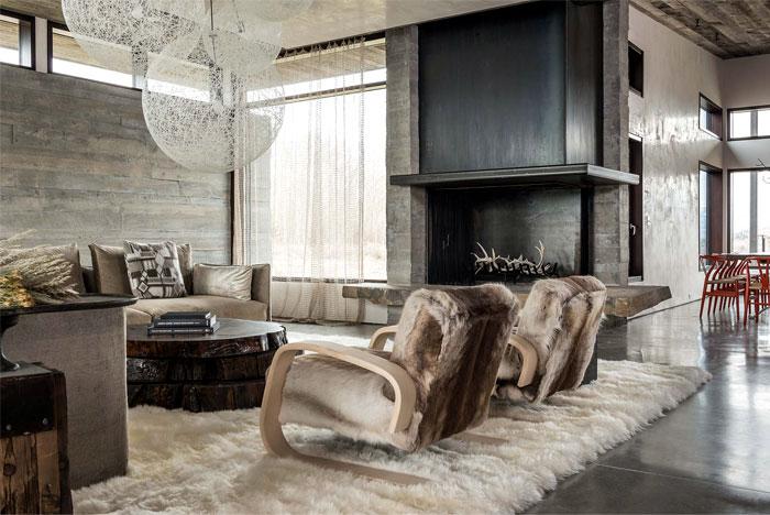 living area polished concrete walls
