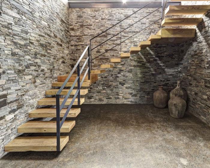stone wood impressions house interior