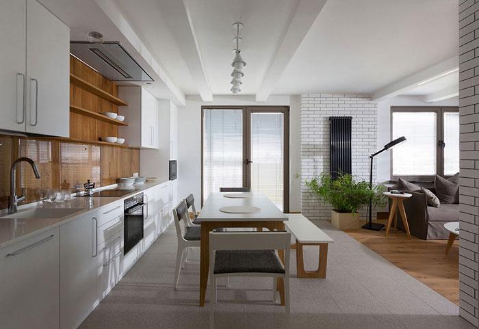 white granite floors kitchen
