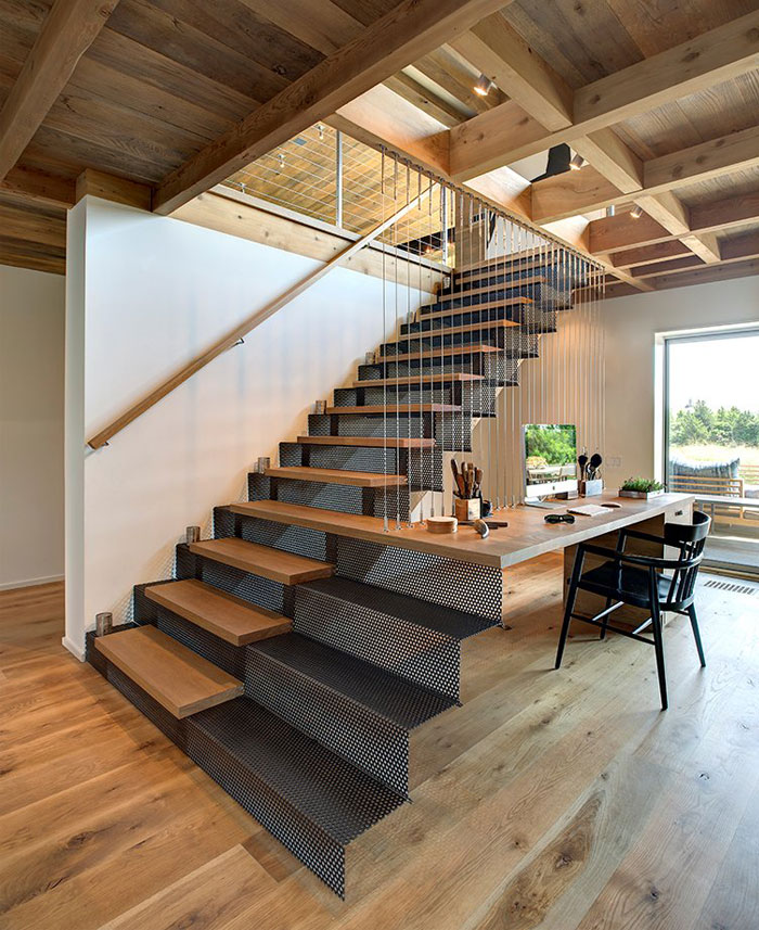 artistic-platform-staircase-desk-perforated-panel