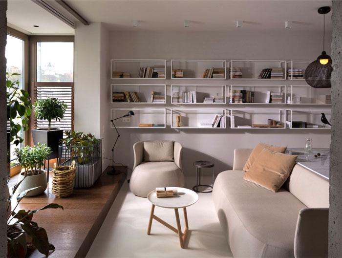 elegant beige gray–white living room decor