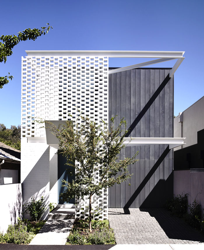 brick perforated screens steel cantilevers