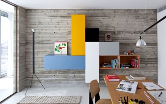 office wall storage unit comprised colourful blocks 338x212