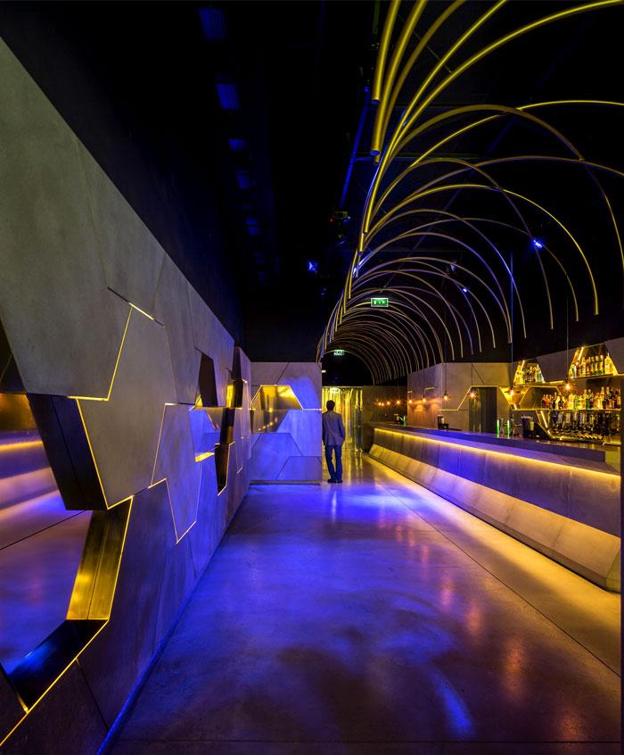 bar interior decor floating tunnel like architecture