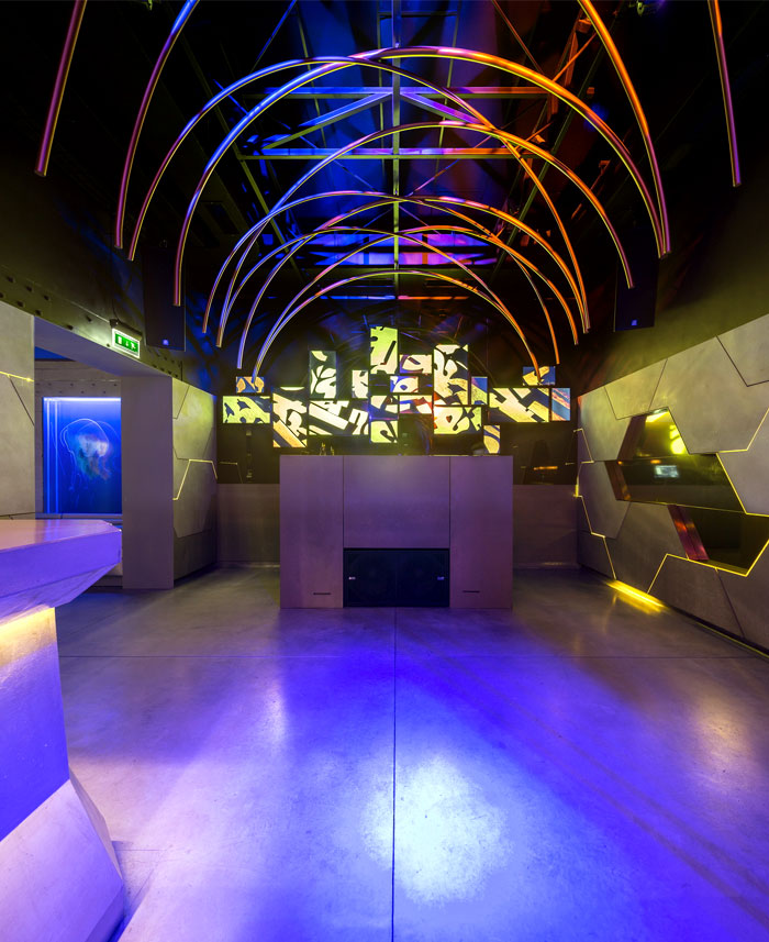 bar interior floating tunnel like architecture