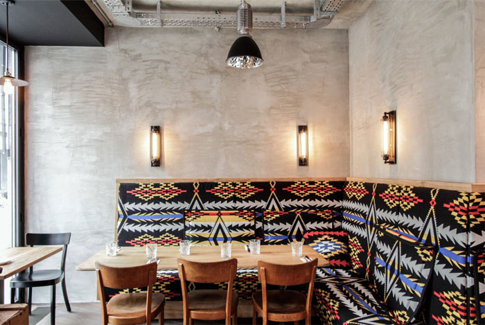 benches aztec prints dining area