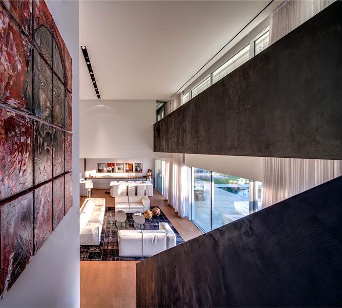 contemporary art exhibited alongside impressive corridor