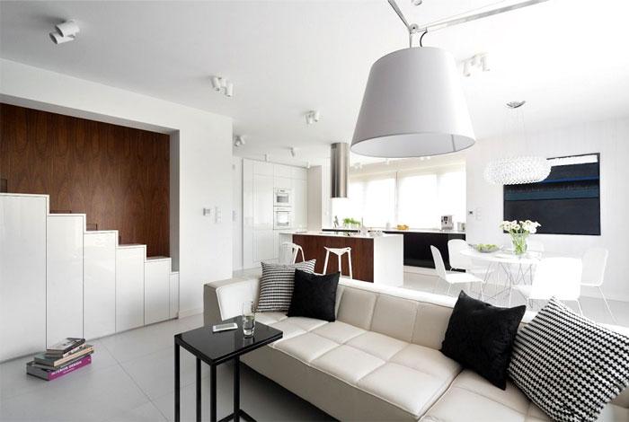 black-cushion-accent-white-sofa