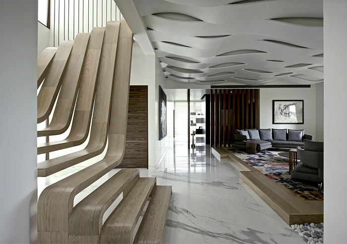Sophisticated Indian Apartment With Woven Staircase