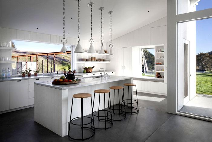 glass barn house kitchen