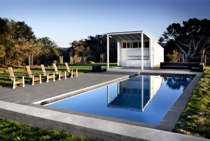 glass barn house pool