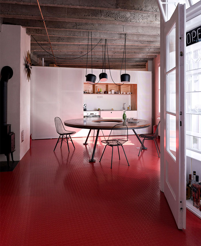 rubber red flooring kitchen