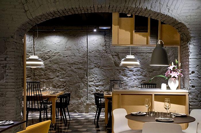 saboc restaurant brick wall decor