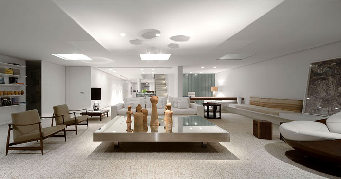 several contemporary artworks luxury penthouse