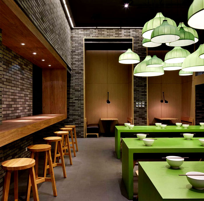 exposed brick walls noodle house decor