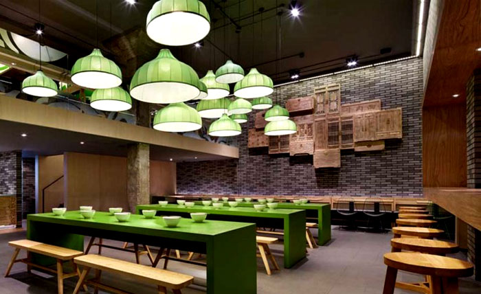 Minimalistic Asian Restaurant With Fresh Green Elements