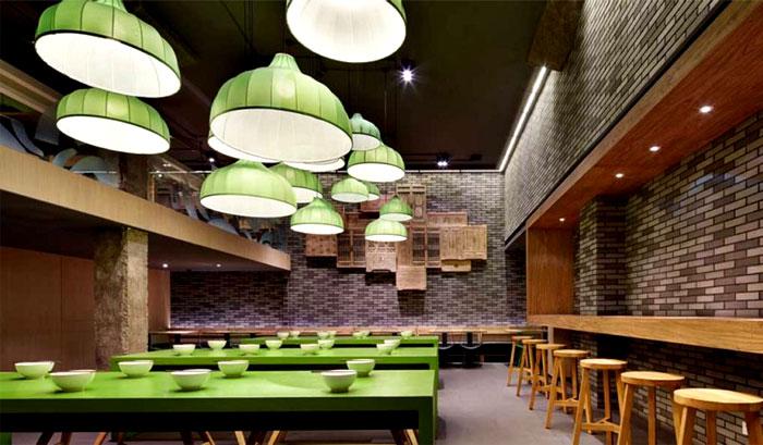 minimalistic asian restaurant fresh green elements