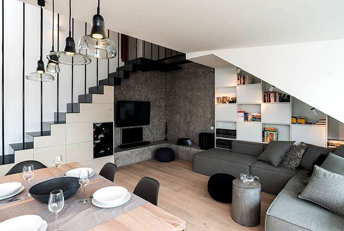 modern apartment interior limited space sloped roof