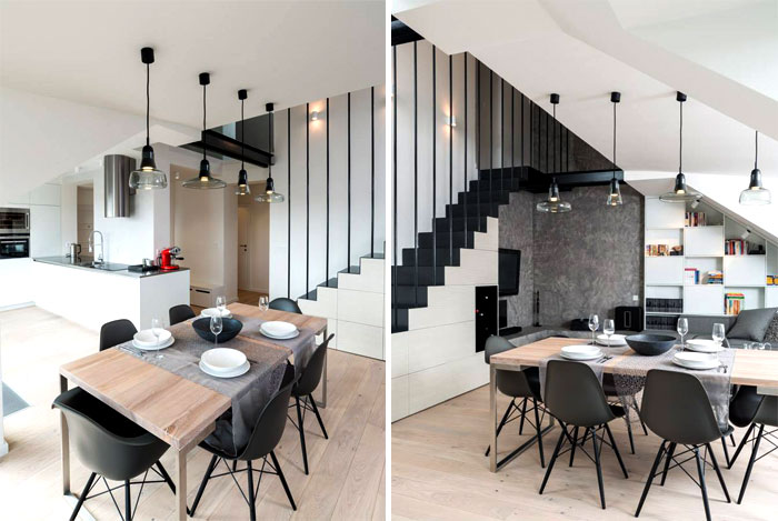 two levels living space staircase