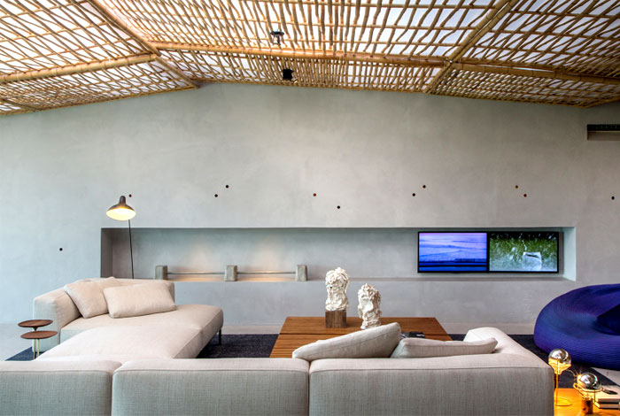 ceiling lined bamboo fabric