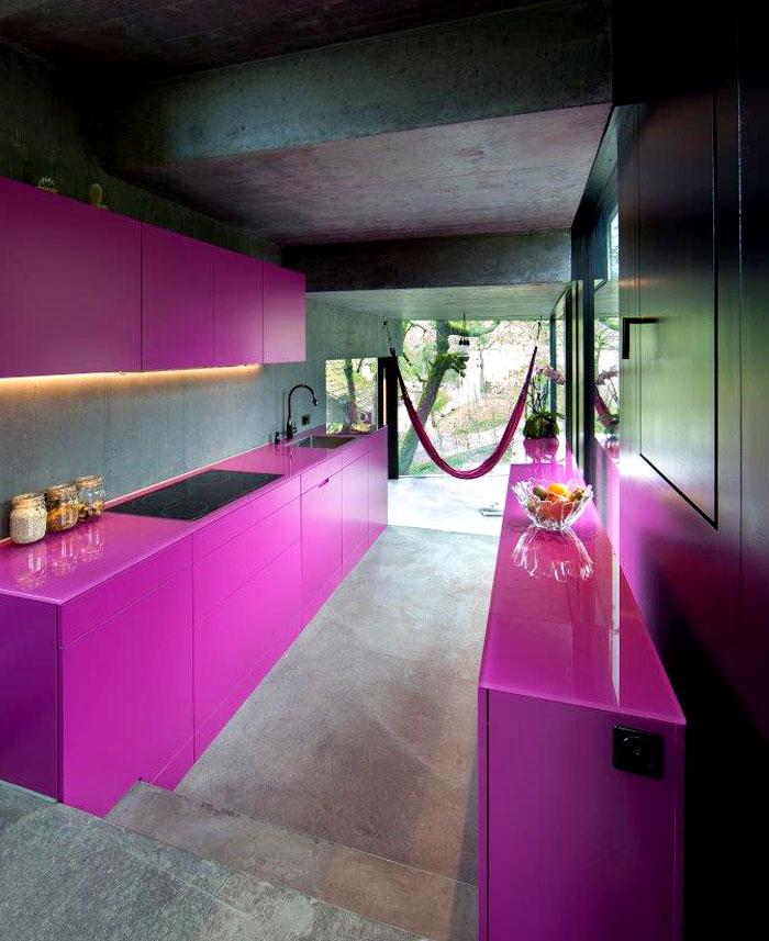 trubel house purple kitchen interior