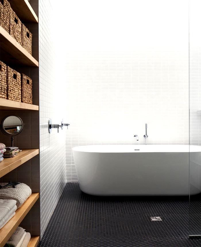 black hexagonal bathroom tiles