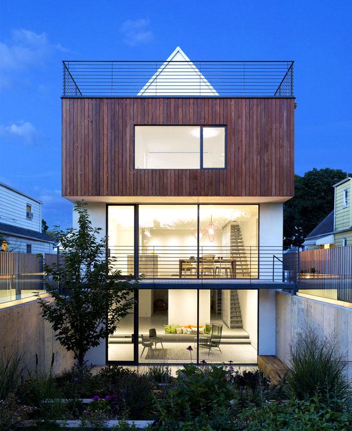 garden concrete partitions wooden terraces
