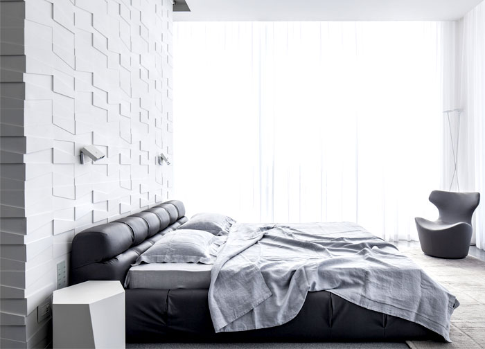 white monochromatic bedroom interior