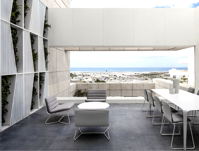 white monochromatic terrace