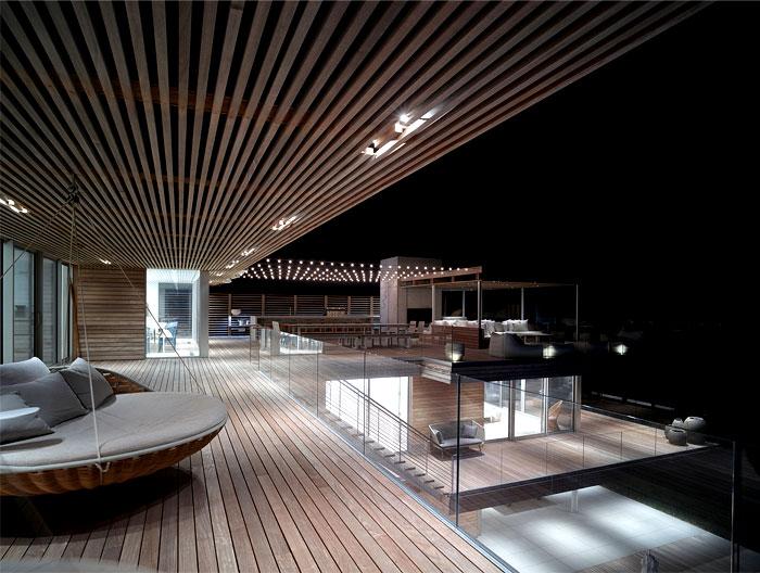 contemporary sea house wooden terraces