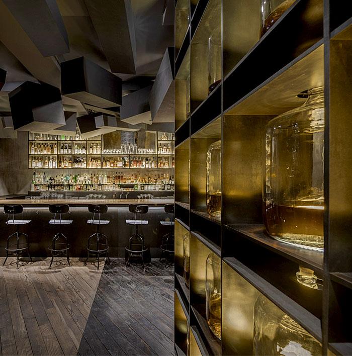 whiskey-bottles-illuminated-spotlight