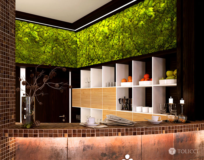reception area combination moss wall wooden mosaic