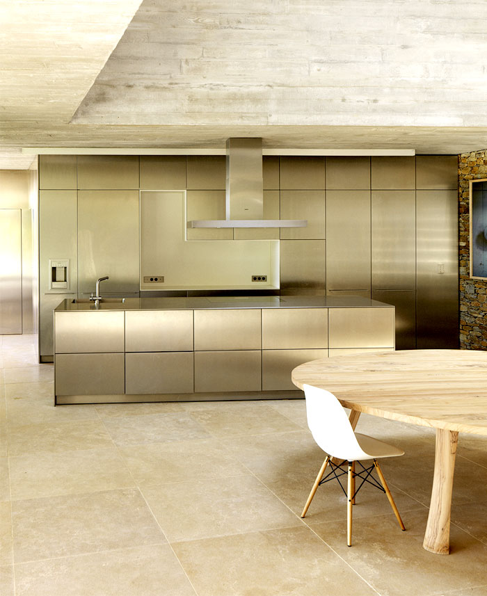 row concrete walls stylish kitchen interior