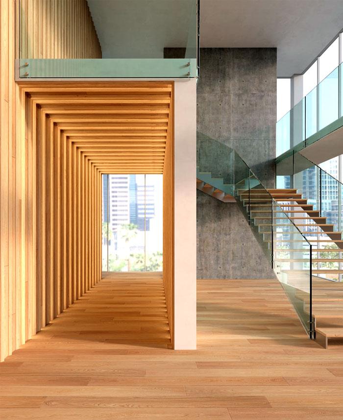 natural wooden cladding floor walls 8