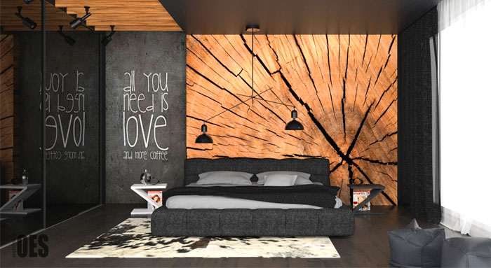 Black Bedroom with Wood Wall Decor by OES Architekci ...