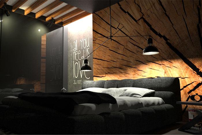 . Black Bedroom with Wood Wall Decor by OES Architekci   InteriorZine